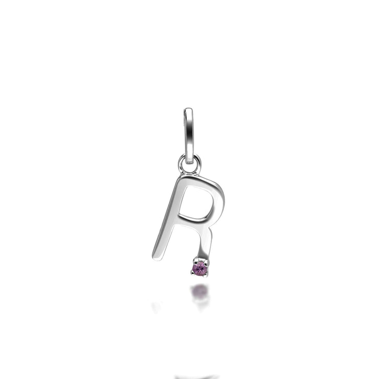 Initial R Pink Sapphire Letter Charm in 9ct White Gold