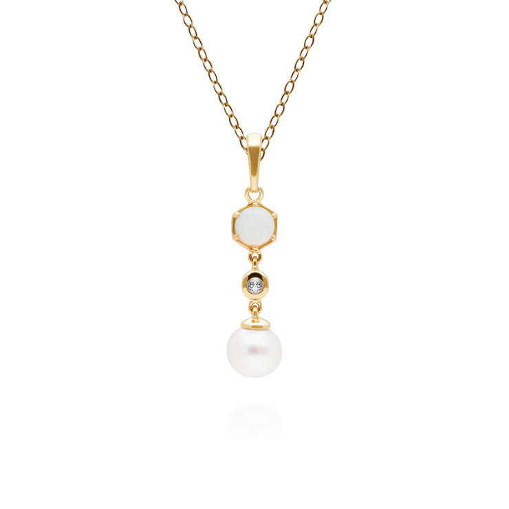 Modern Pearl, Opal & Topaz Drop Pendant in Gold Plated Sterling Silver