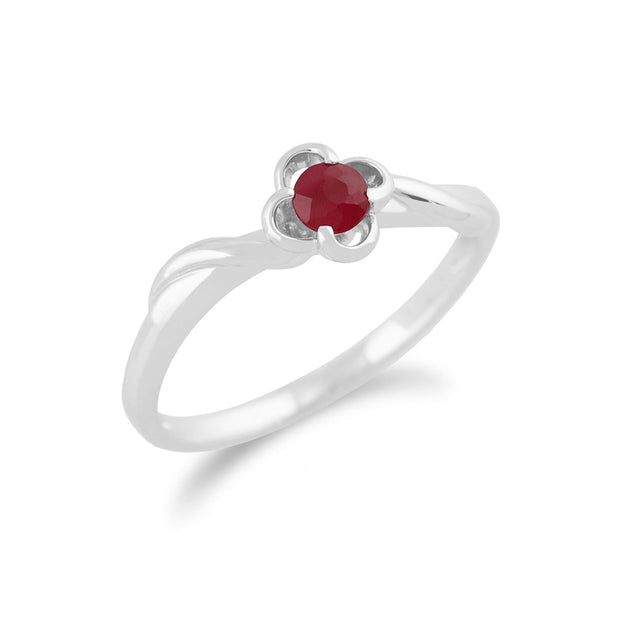 Gemondo 9ct White Gold 0.27ct Ruby Floral Ring