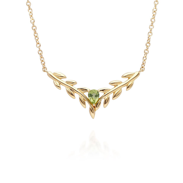 O Leaf Peridot Necklet in 9ct Yellow Gold