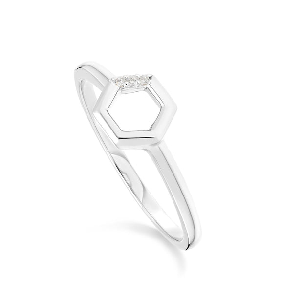 Diamond Pave Hexagon Ring in 9ct White Gold