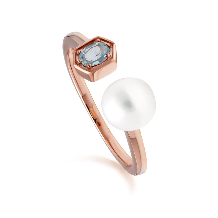 Modern Pearl & Blue Topaz Open Ring in Rose Gold Plated Sterling Silver