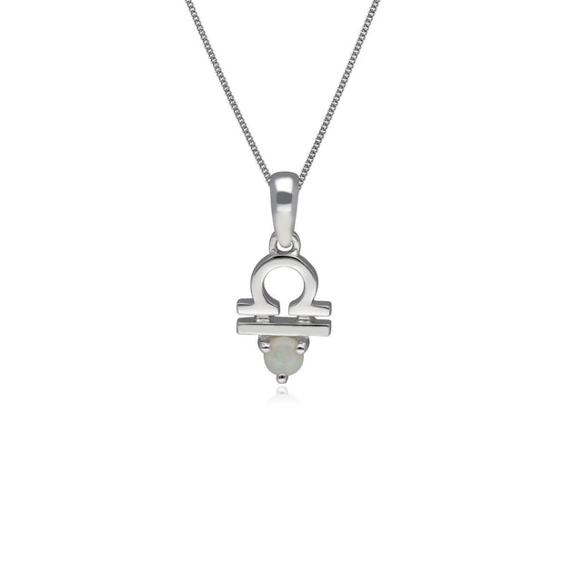 Opal Libra Zodiac Necklace in 9ct White Gold