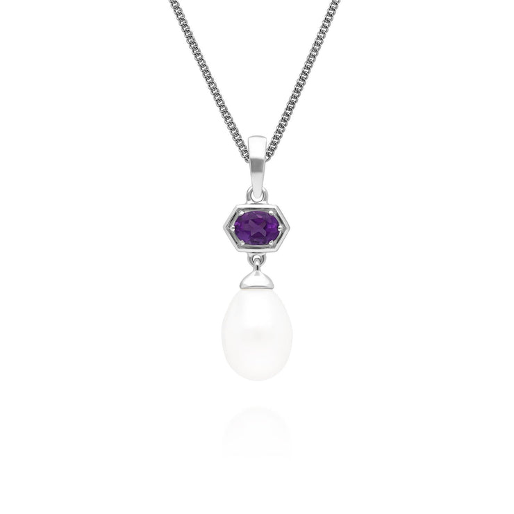 Modern Pearl & Amethyst Ring & Pendant Set in Sterling Silver