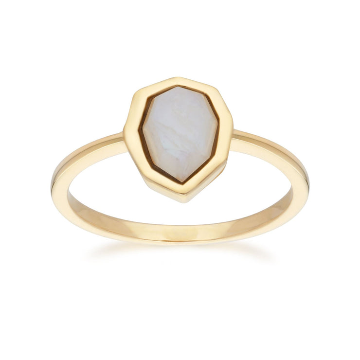 Irregular B Gem Rainbow Moonstone Ring in Gold Plated Sterling Silver Front