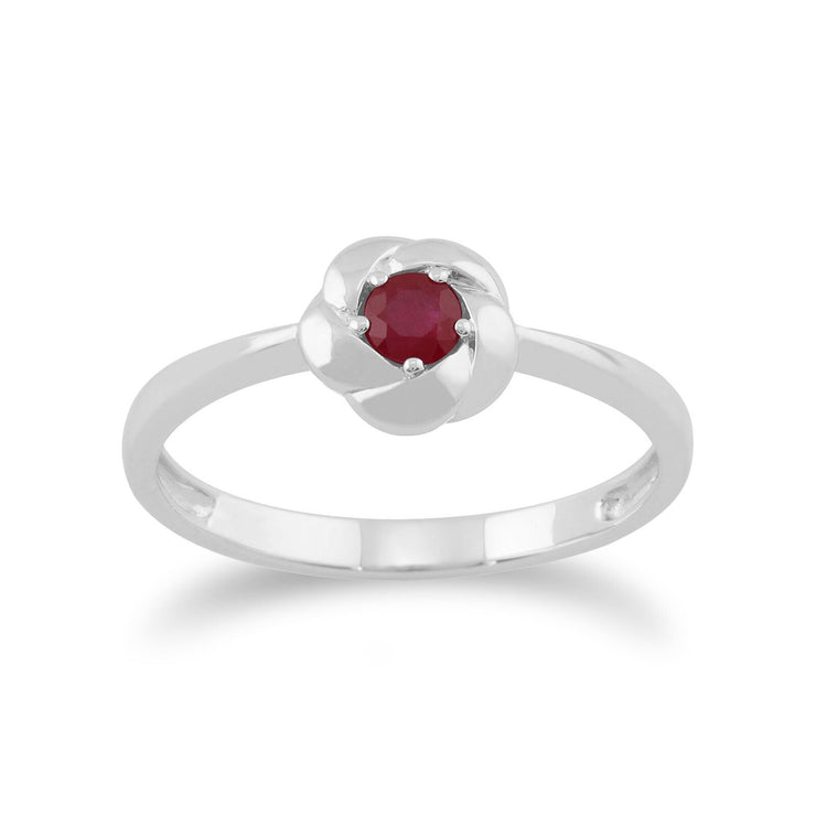 Gemondo Plaited Texture 9ct White Gold 0.21ct Ruby Ring