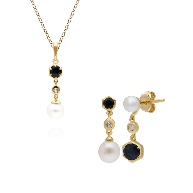 Modern Pearl, Sapphire & Topaz Earrings & Pendant Set