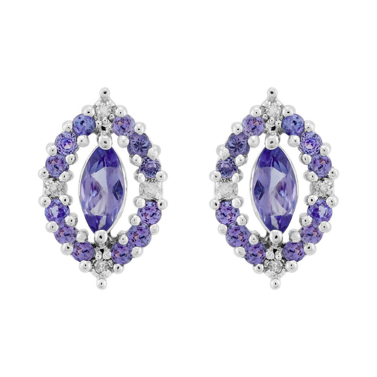 Sterling Silver 0.79ct Natural Tanzanite & 3.2pt Diamond Cluster Stud Earrings
