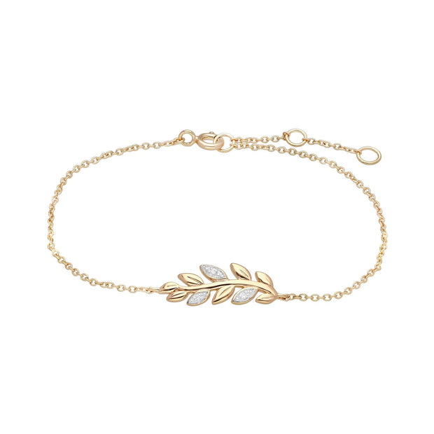 O Leaf Diamond Pave Chain Bracelet in 9ct Yellow Gold
