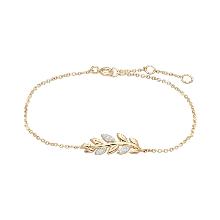 9ct Yellow Gold O Leaf Diamond Pave Chain Bracelet