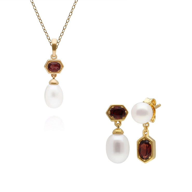 Modern Pearl & Garnet Pendant & Earring Set in Gold Plated Sterling Silver