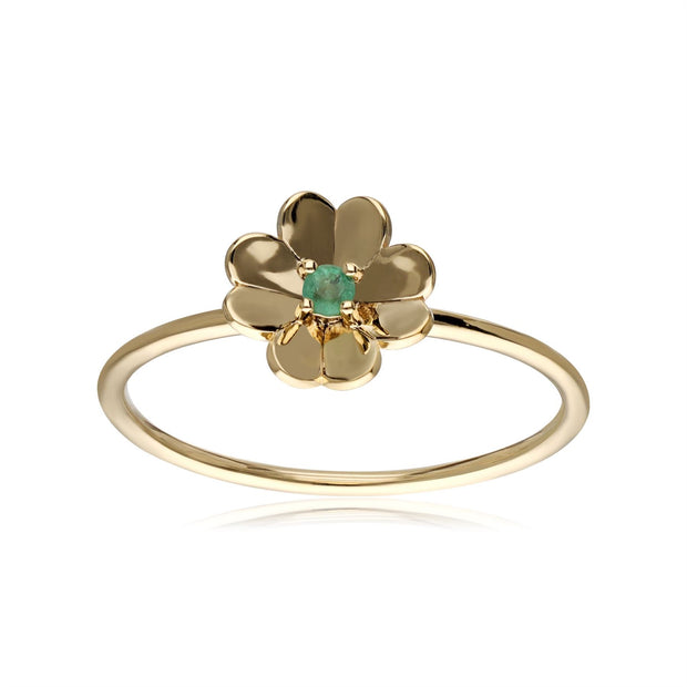 Gardenia Emerald Clover Ring In 9ct Yellow Gold