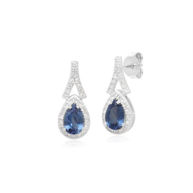Teardrop Luxe Blue Sapphire & Diamond Drop Earrings in 9ct White Gold