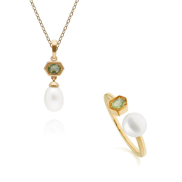 Modern Pearl & Peridot Pendant & Ring Set in Gold Plated Sterling Silver