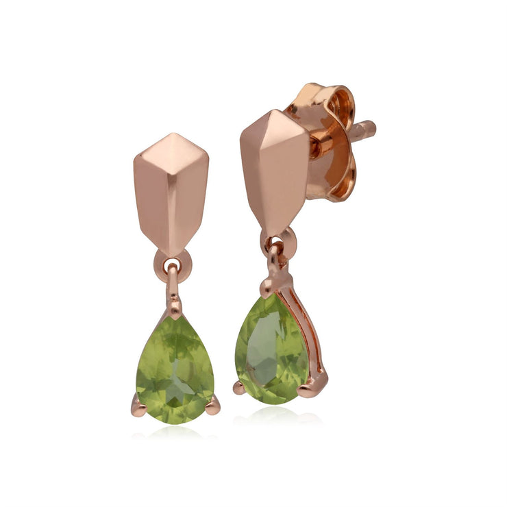 Micro Statement Peridot Earrings in Rose Gold Plated 925 Sterling Silver
