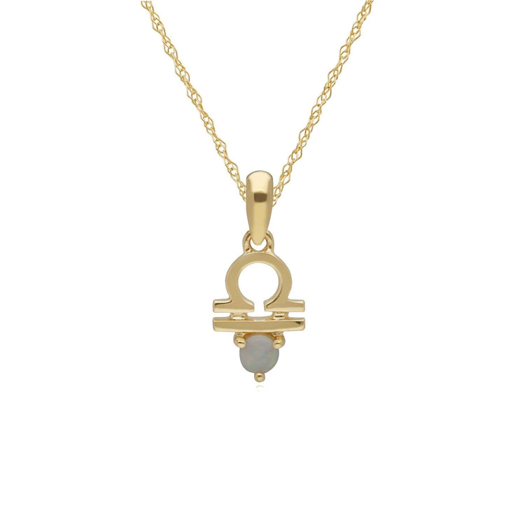 Opal Libra Zodiac Necklace in 9ct Yellow Gold