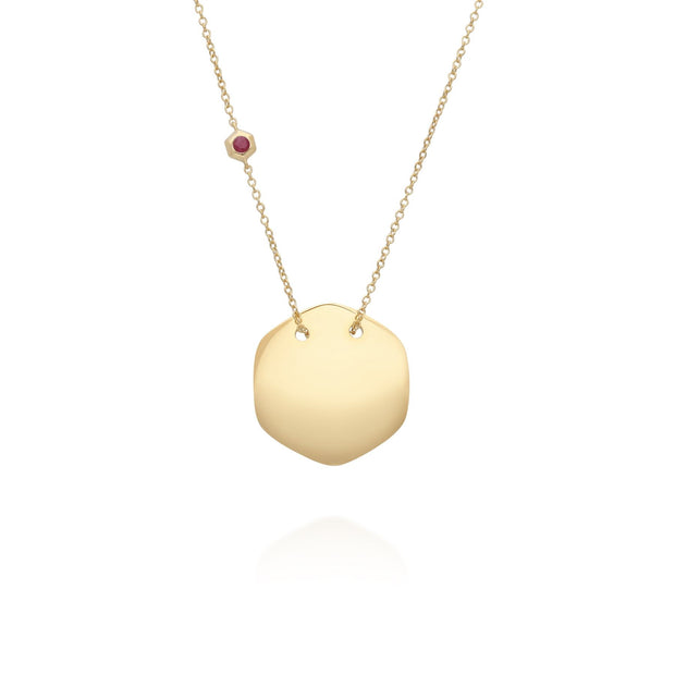 Ruby Engravable Necklace in Yellow Gold Sterling Silver