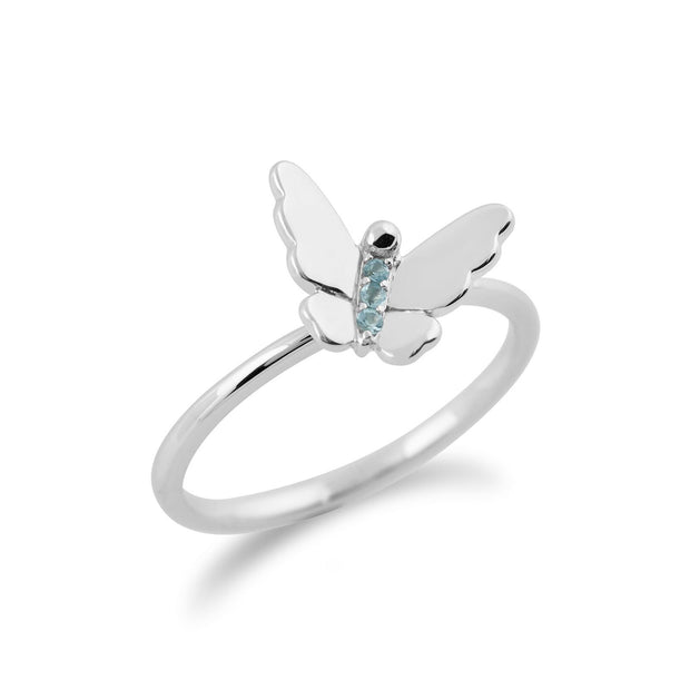 Gemondo 9ct White Gold 0.03ct Blue Topaz Stackable Butterfly Ring