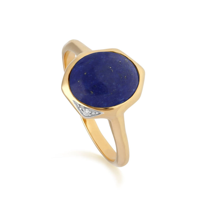 Irregular B Gem Lapis Lazuli & Diamond Ring in Gold Plated Sterling Silver