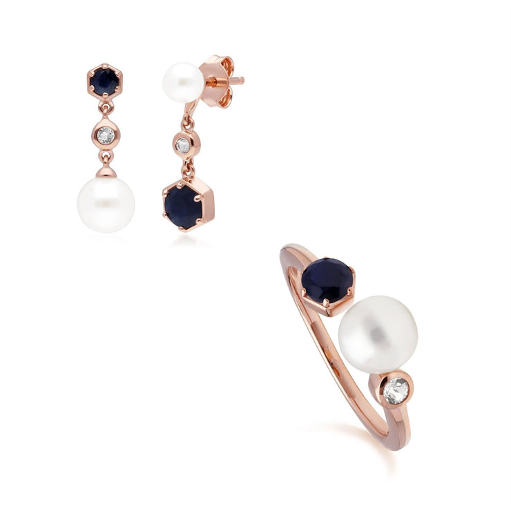 Modern Pearl, Sapphire & Topaz Ring & Earring Rose Gold Plated Set