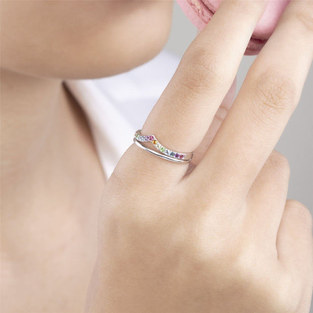 Rainbow Gemstone Wishbone Ring Style in 925 Sterling Silver on model