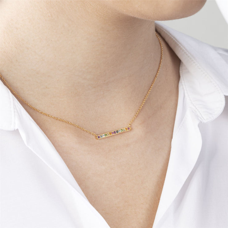 Rainbow Gemstone Bar Necklace in Gold Plated Sterling Silver on model