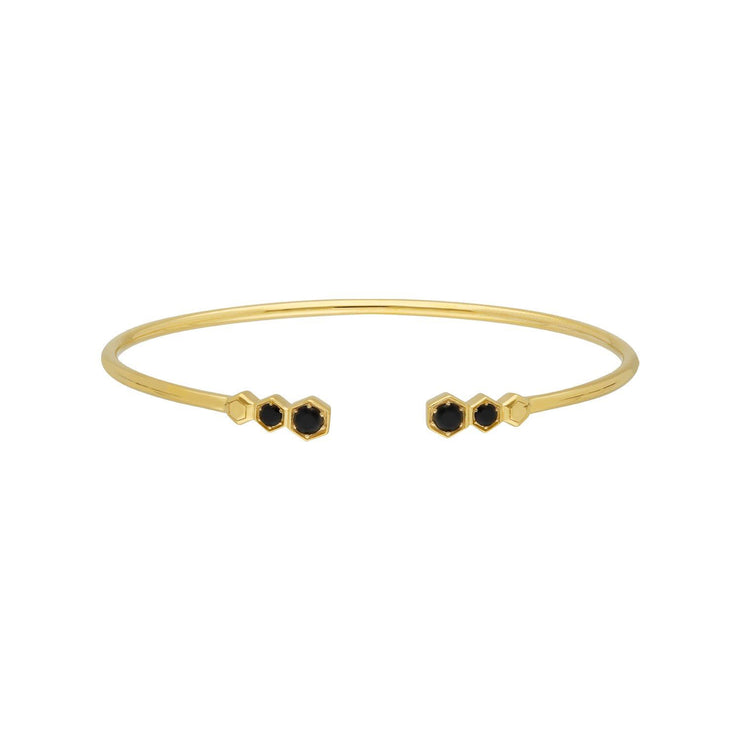 Geometric Black Onyx Open Bangle in Gold Plated Sterling Silver