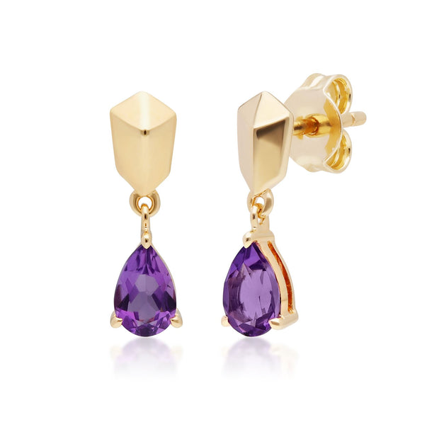Micro Statement Amethyst Drop Earrings in Gold Plated Sterling Silver