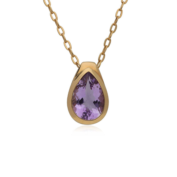 Kosmos Oval Shaped Amethyst Drop Necklace in Gold Plated Sterling Silver