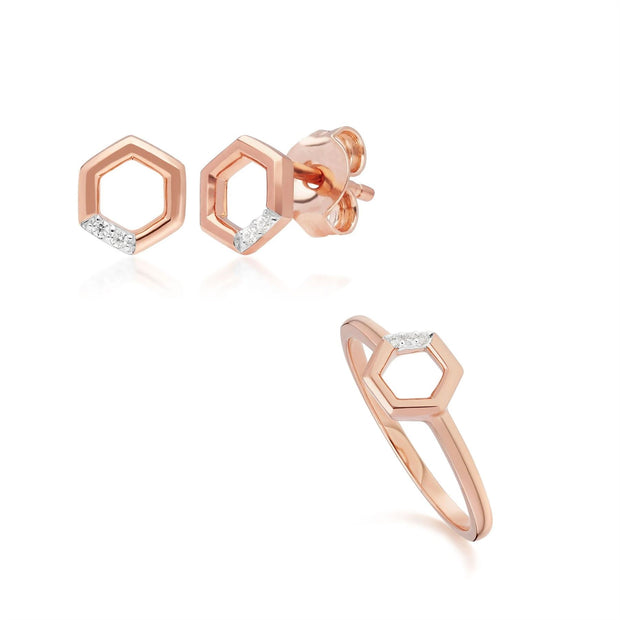 Diamond Pave Hexagon Stud Earring & Ring Set in 9ct Rose Gold