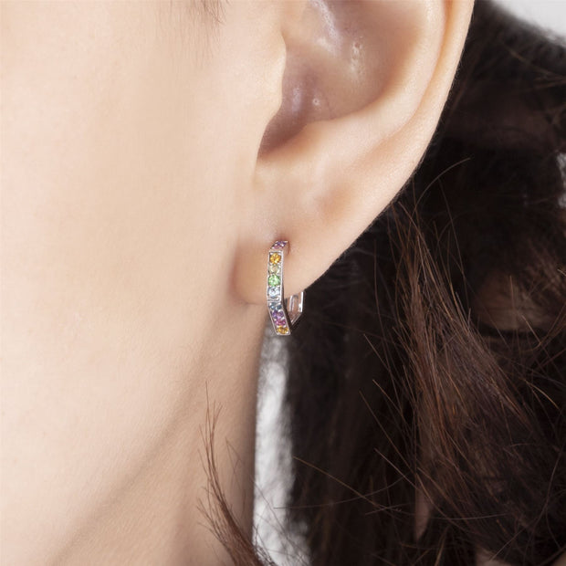 Rainbow Hexagon Hoop Earrings in Sterling Silver on model