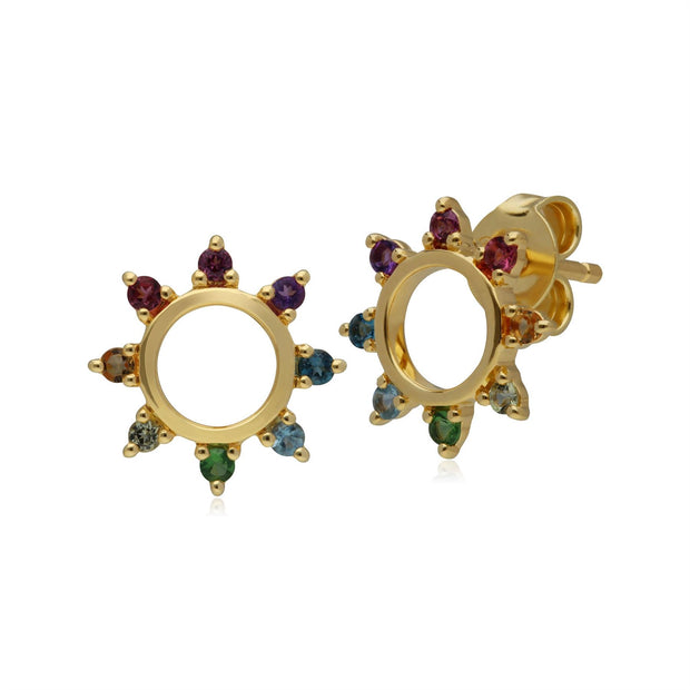Rainbow Sunburst Stud Earrings in Gold Plated Sterling Silver