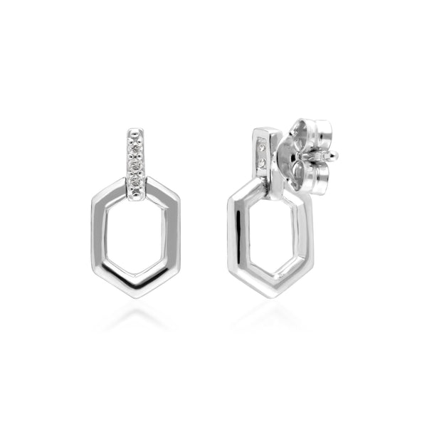 Diamond Pave Hex Bar Drop Earrings in 9ct White Gold