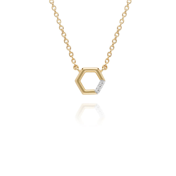 Diamond Pave Hexagon Necklace in 9ct Yellow Gold