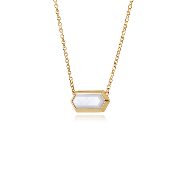 Mother of Pearl Gold Plated Hexagonal Prism Necklace