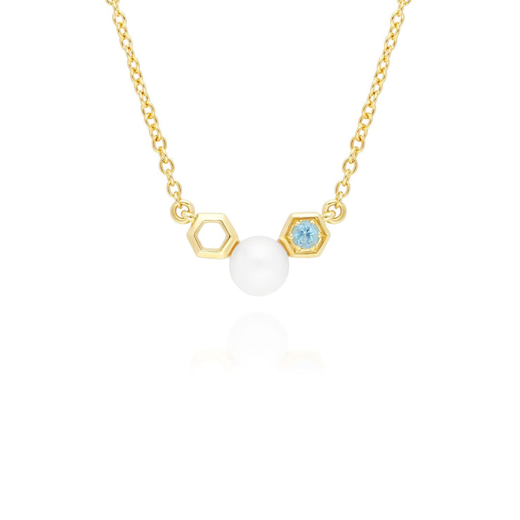 Modern Pearl & Blue Topaz Necklace in 9ct Yellow Gold