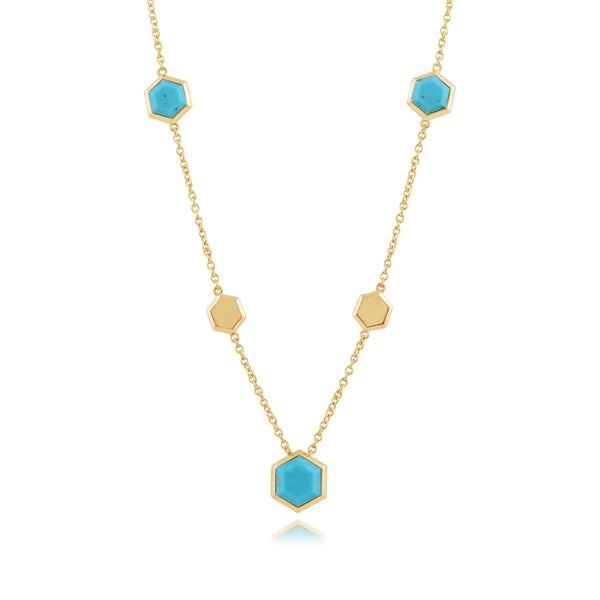 Geometric Hexagon Turquoise Gold Plated Silver Necklace
