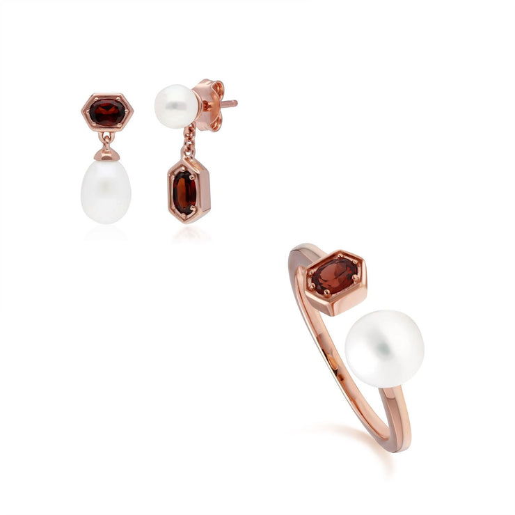 Modern Pearl & Garnet Earring & Ring Set in Rose Gold Plated Sterling Silver
