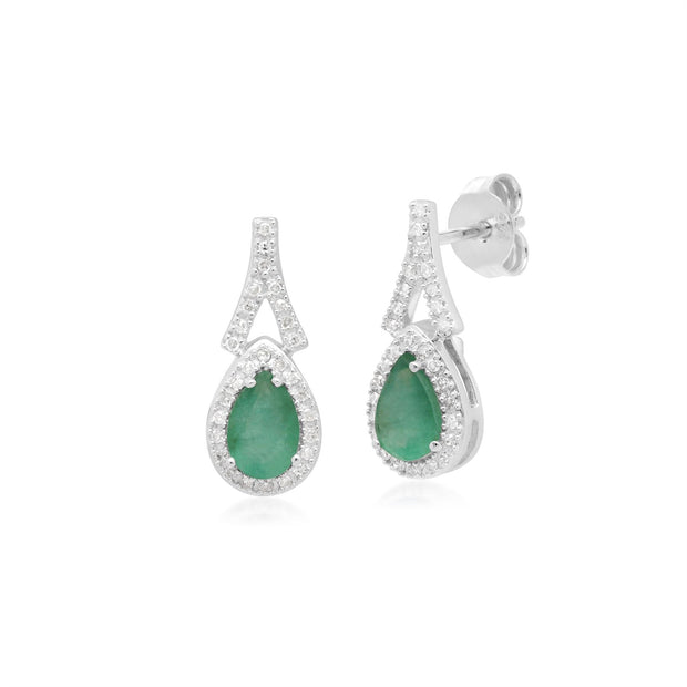 Teardrop Luxe Emerald & Diamond Drop Earrings in 9ct White Gold