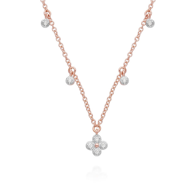 Diamond Flowers Choker Charm Necklace in 9ct Rose Gold