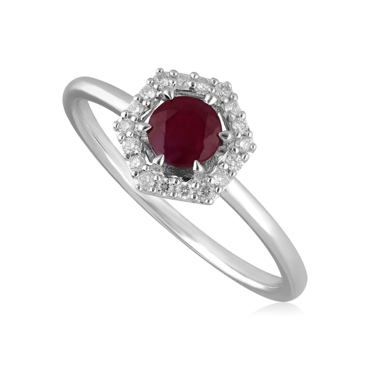 9ct White Gold 0.48ct Ruby & Diamond Halo Engagement Ring