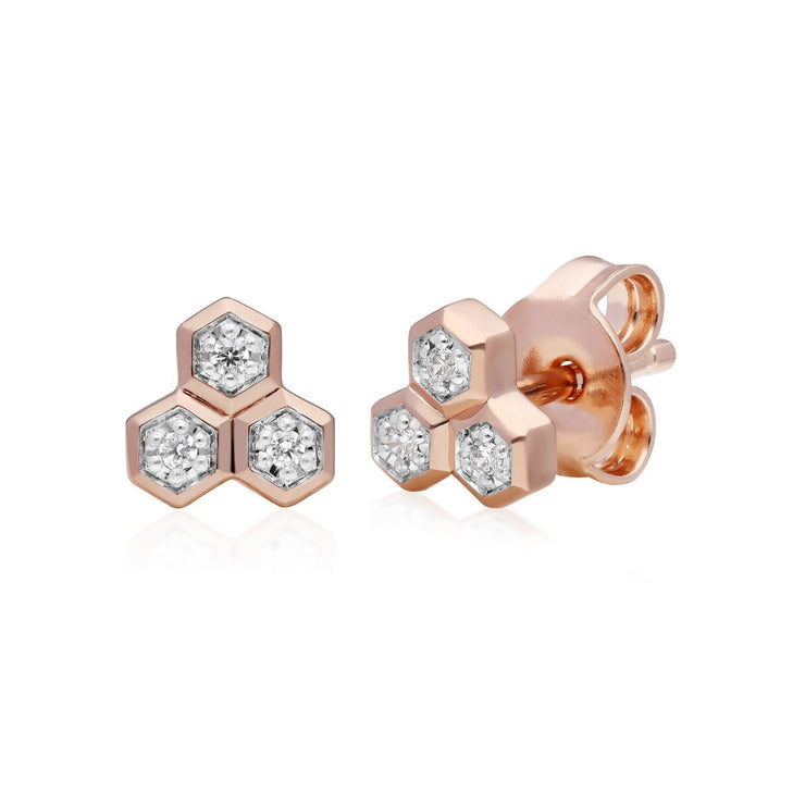 Diamond Trilogy Necklace & Stud Earring Set in 9ct Rose Gold
