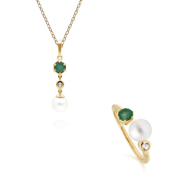 Modern Pearl, Topaz & Emerald Pendant & Ring Set in Gold Plated Sterling Silver