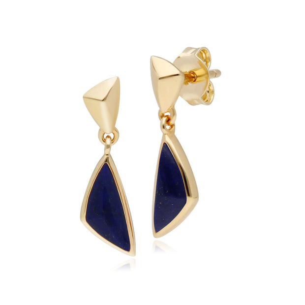 Micro Statement Lapis Lazuli Drop Earrings in Gold Plated 925 Sterling Silver