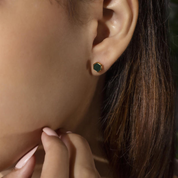 Micro Statement Malachite Stud Earrings in Gold Plated 925 Sterling Silver on model