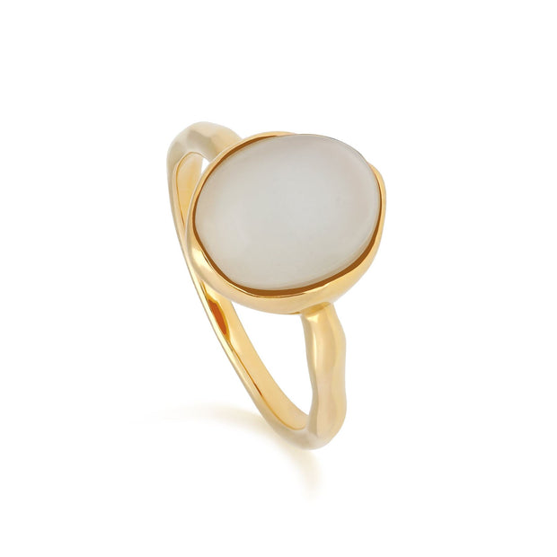 Irregular B Gem Moonstone Ring in Yellow Gold Plated Sterling Silver