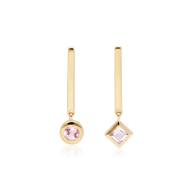 Micro Statement Mismatched Morganite Drop Earrings in 9ct Yellow Gold