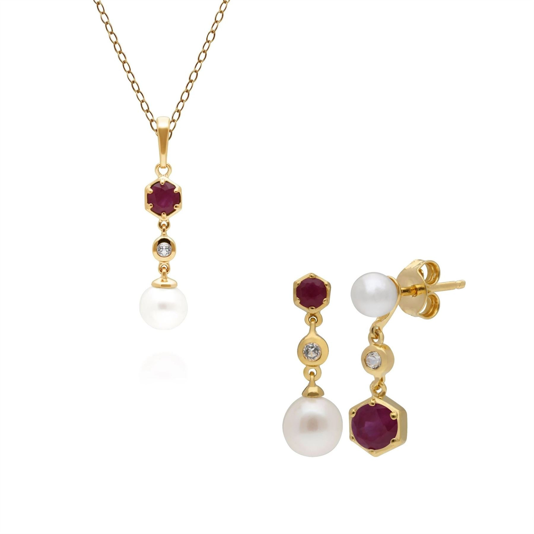 Modern Pearl, Topaz & Ruby Pendant & Earring Set in Gold Plated Silver Deal Price £ 235.00