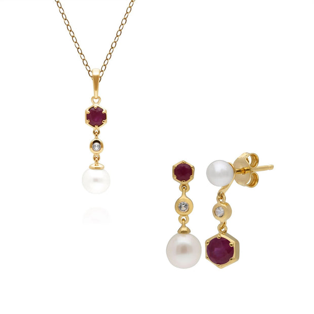 Modern Pearl, Topaz & Ruby Pendant & Earring Set in Gold Plated Sterling Silver