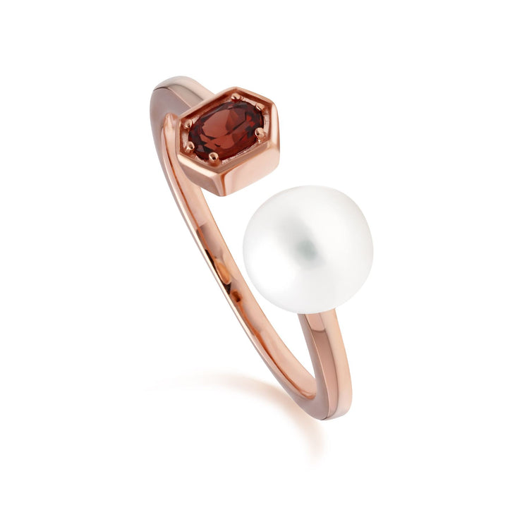 Modern Pearl & Garnet Open Ring in Rose Gold Plated Sterling Silver